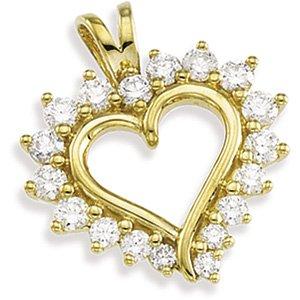 14k Yellow 1/2 CTW Diamond Heart Pendant