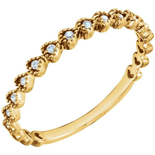 14K Yellow .06 CTW Diamond Stackable Heart Ring