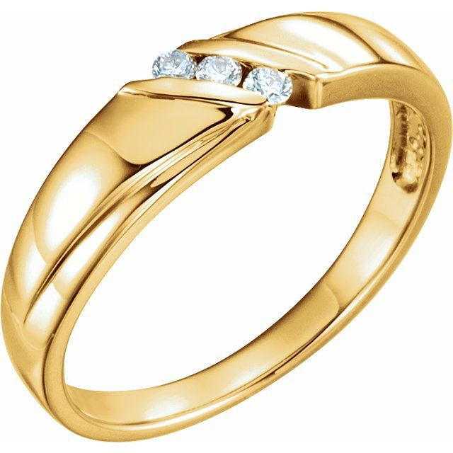 14K Yellow .08 CTW Diamond Band