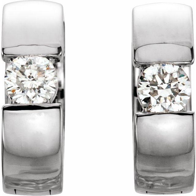 Platinum 1/4 CTW Diamond 12 mm Hinged Huggie Earrings