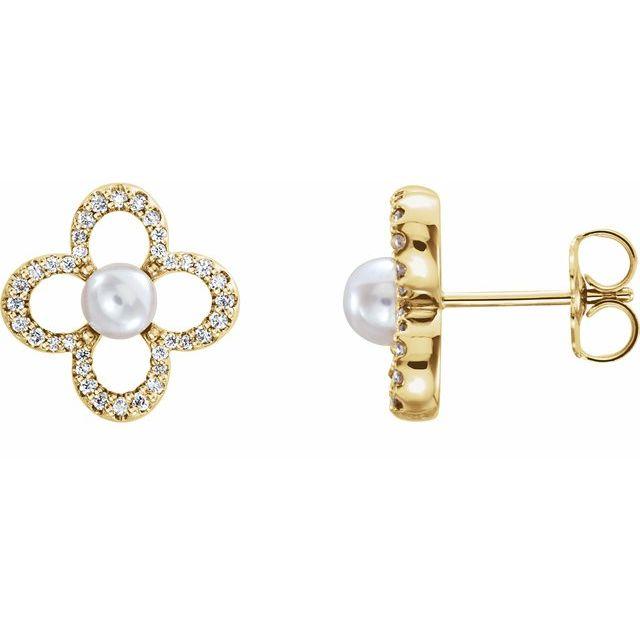 14K Yellow Freshwater Cultured Pearl & 1/4 CTW Diamond Earrings