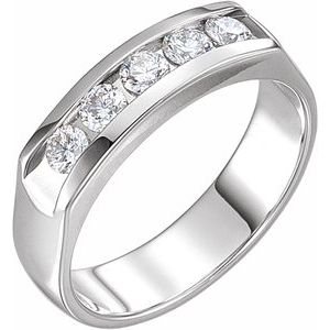 14K White 3/4 CTW Diamond Men-s Band