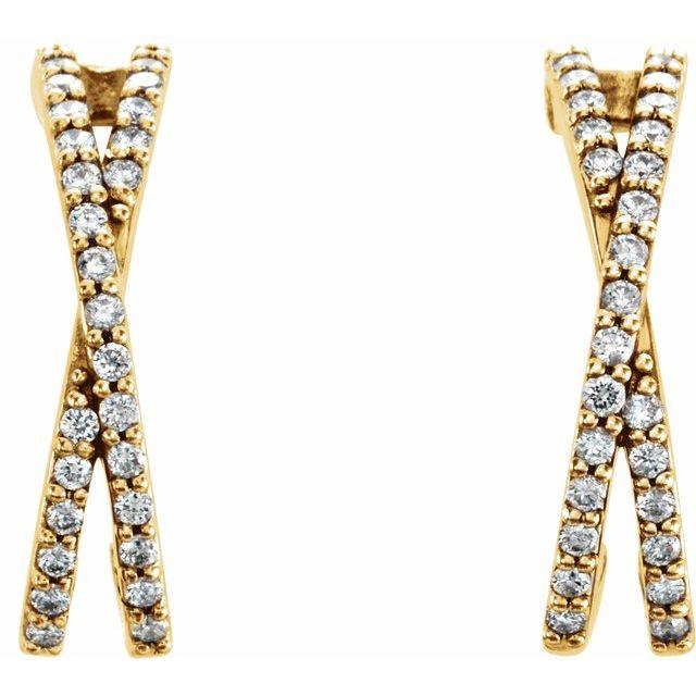 14K Yellow 1/5 CTW Diamond Criss-Cross J-Hoop Earrings