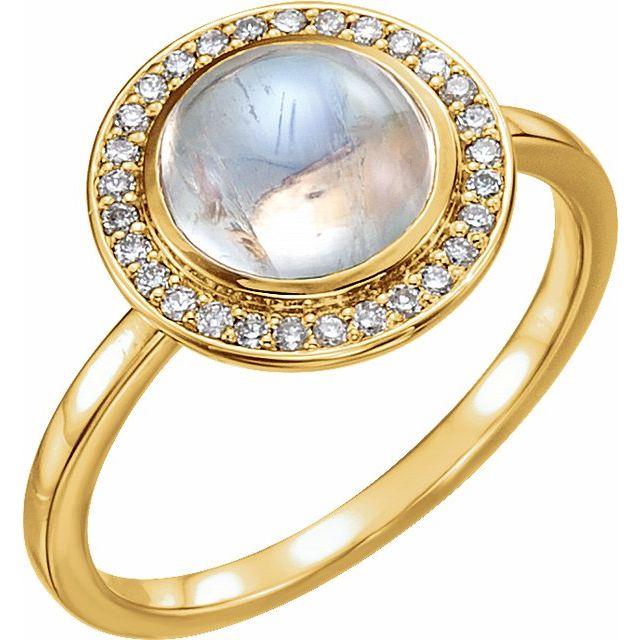 14K Yellow Rainbow Moonstone & 1/8 CTW Diamond Halo-Style Ring