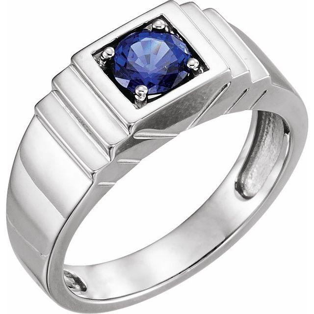 14K White Lab-Grown Blue Sapphire Ring
