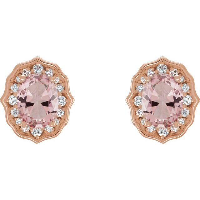 14K Rose Baby Pink Topaz and 1/3 CTW Diamond Earrings with Backs