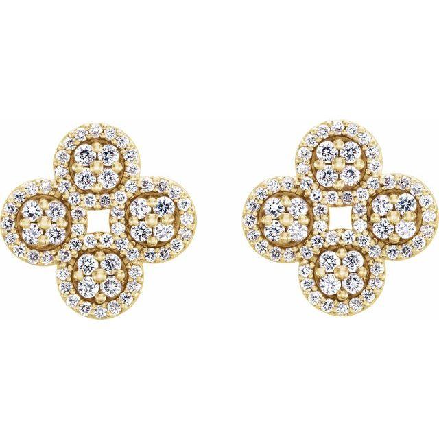 14K Yellow 1/2 CTW Diamond Clover Earrings