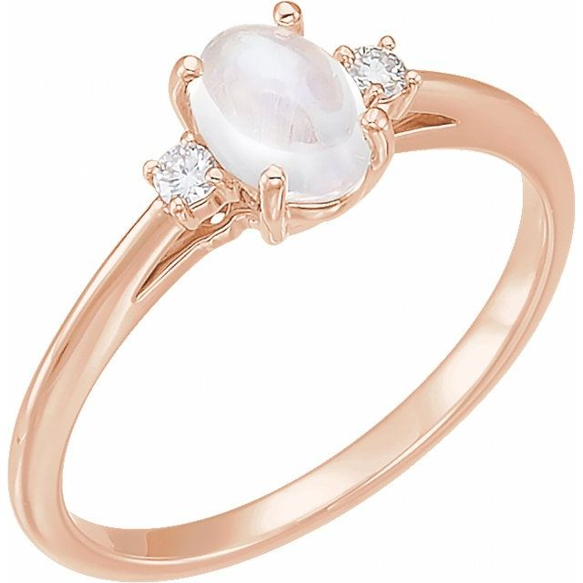 14K Rose Rainbow Moonstone & .06 CTW Diamond Ring