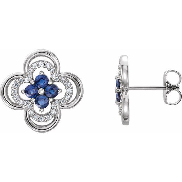 14K White Blue Sapphire & 1/5 CTW Diamond Clover Earrings