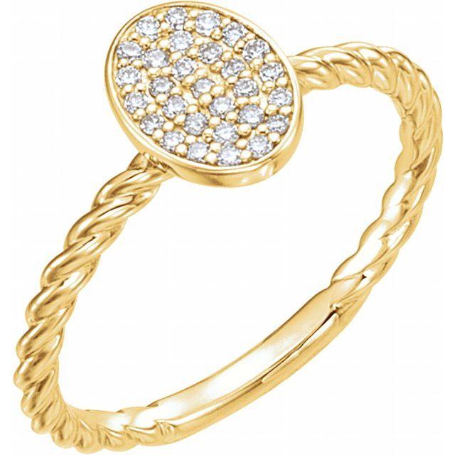 14K Yellow 1/6 CTW Diamond Rope Cluster Ring
