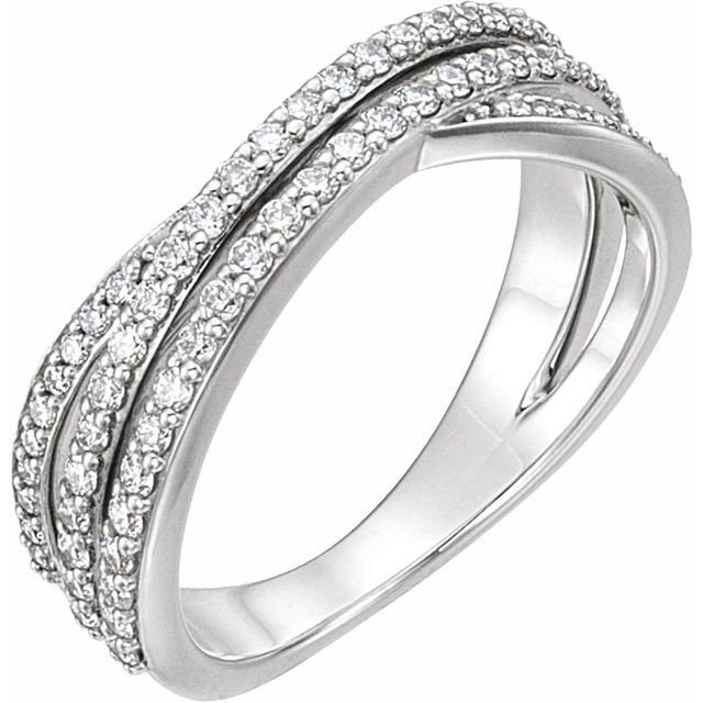 14K White 1/2 CTW Diamond Criss-Cross Ring