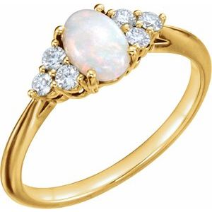 14K Yellow Opal & 1/5 CTW Diamond Ring