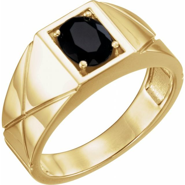 14K Yellow Onyx Ring