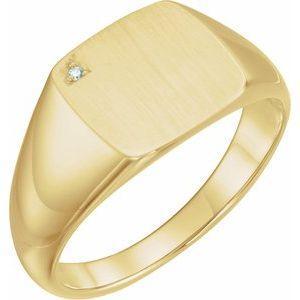 14K Yellow .0075 CT Diamond 12 mm Square Signet Ring