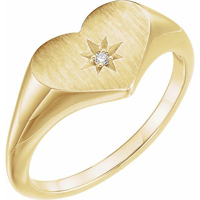 14K Yellow .01 CT Diamond 11.9 mm Heart Starburst Ring