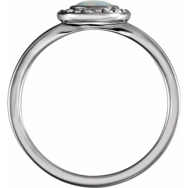 14K White Opal & .07 CTW Diamond Halo-Style Ring