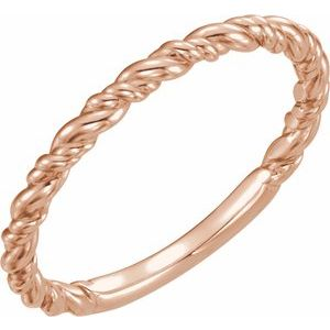 14K Rose Stackable Rope Ring