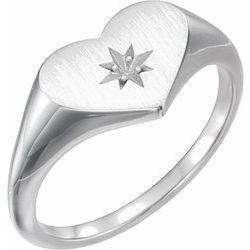Diamond Heart Signet Ring alebo neosadený