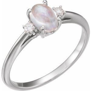 14K White Rainbow Moonstone & .06 CTW Diamond Ring