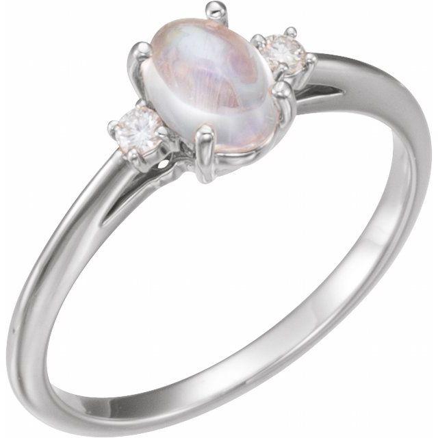 14K White Rainbow Moonstone & .06 CTW Diamond Ring