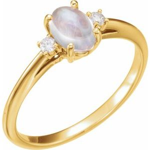 14K Yellow Rainbow Moonstone & .06 CTW Diamond Ring