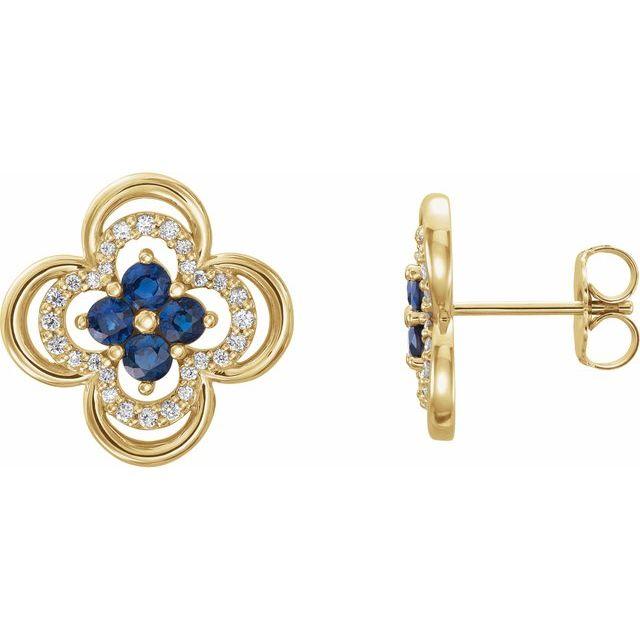 14K Yellow Blue Sapphire & 1/5 CTW Diamond Clover Earrings