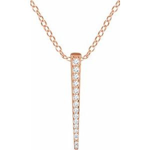"14K Rose 1/4 CTW Diamond Graduated Bar 16-18"" Necklace"