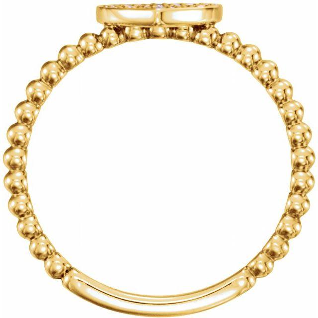 14K Yellow 1/8 CTW Diamond Heart Bead Ring