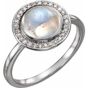 14K White Rainbow Moonstone & 1/8 CTW Diamond Halo-Style Ring