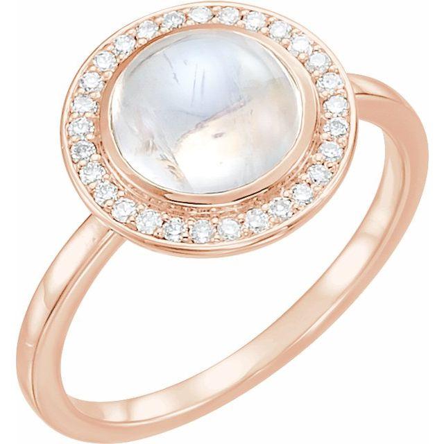 14K Rose Rainbow Moonstone & 1/8 CTW Diamond Halo-Style Ring