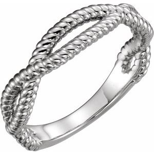 14K White Rope Ring