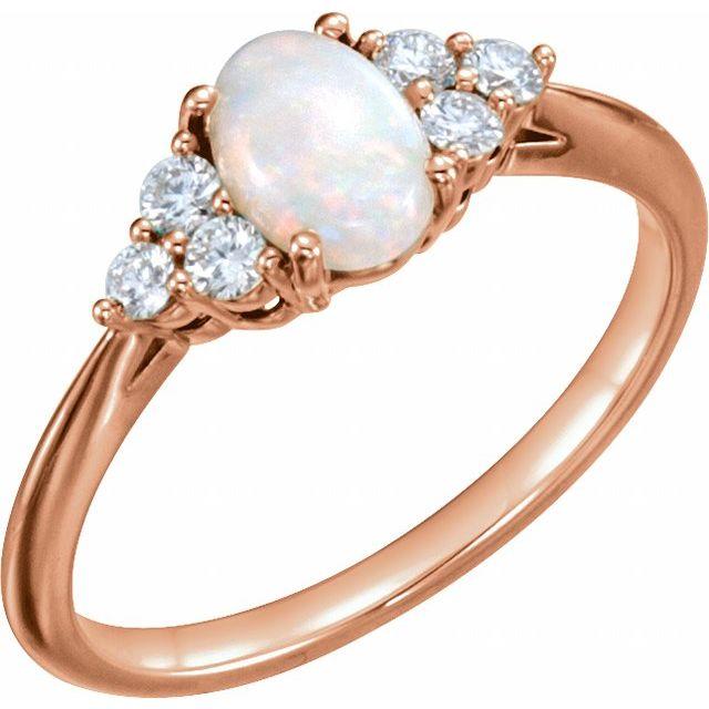 14K Rose Opal & 1/5 CTW Diamond Ring