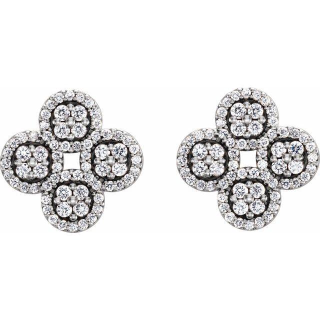 14K White 1/2 CTW Diamond Clover Earrings