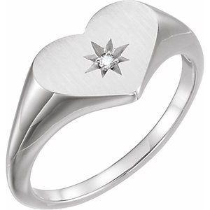 Sterling Silver .01 CT Diamond 11.9 mm Heart Starburst Ring
