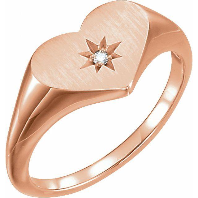 14K Rose .01 CT Diamond 11.9 mm Heart Starburst Ring