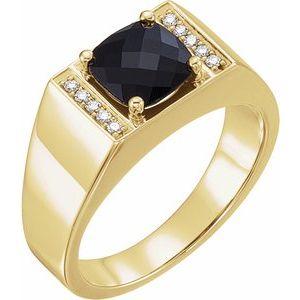 14K Yellow Onyx & 1/10 CTW Diamond Ring