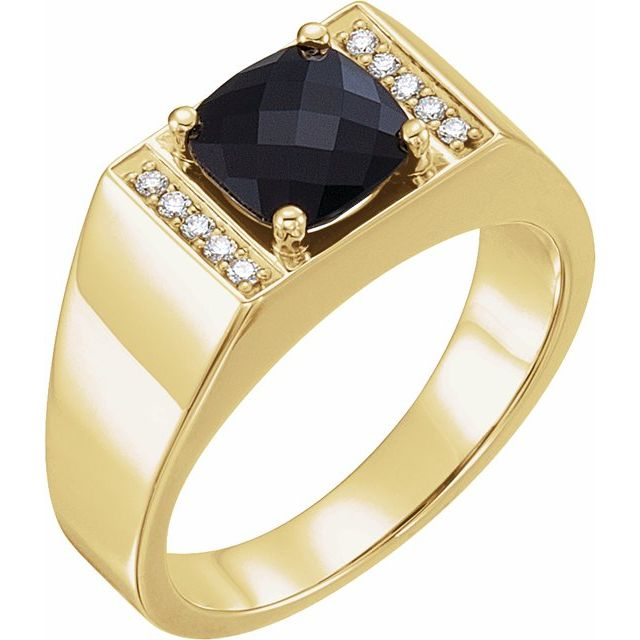 14K Yellow Onyx & 1/10 CTW Diamond Ring