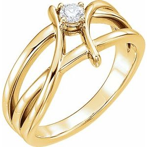 14K Yellow 1/8 CT Diamond Ring