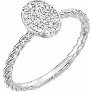 14K White 1/6 CTW Diamond Rope Cluster Ring