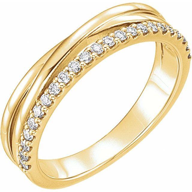 14K Yellow 1/4 CTW Diamond Criss-Cross Ring