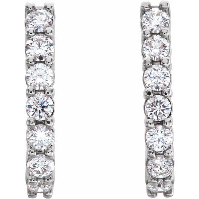 14K White 3/4 CTW Diamond J-Hoop Earrings