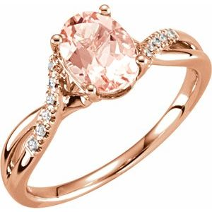 14K Rose Morganite & .06 CTW Diamond Ring Size 7
