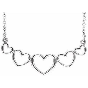 """14K White Graduated Heart 17 1/2"""" Necklace"""