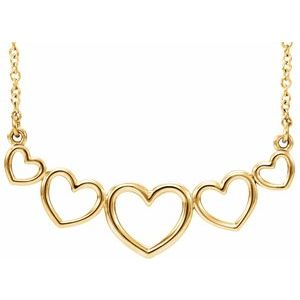 """14K Yellow Graduated Heart 17 1/2"""" Necklace"""