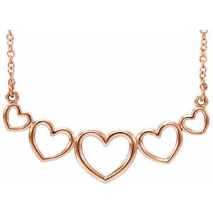 "14K Rose Graduated Heart 17 1/2"" Necklace"