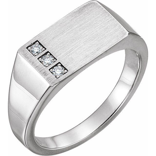 14K White 1/10 CTW Diamond 15x10 mm Rectangle Signet Ring