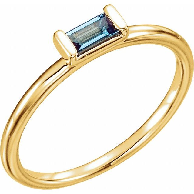 14K Yellow London Blue Topaz Stackable Ring