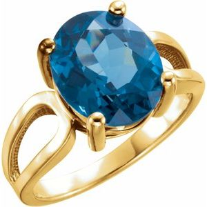 14K Yellow 12x10 mm Oval London Blue Topaz Ring