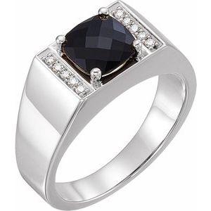 Platinum Onyx & 1/10 CTW Diamond Ring