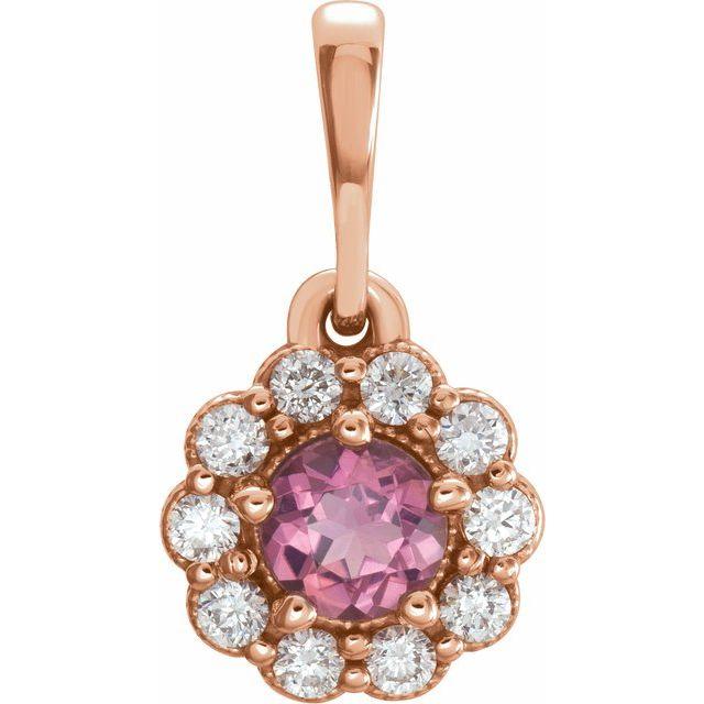 14K Rose Pink Tourmaline & 1/8 CTW Diamond Pendant